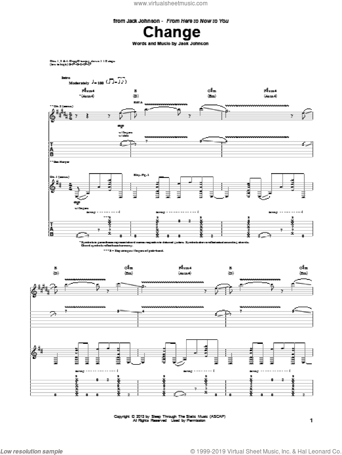 Change sheet music for guitar (tablature) by Jack Johnson, intermediate guitar (tablature). Score Image Preview.