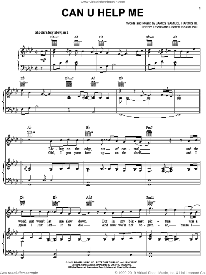 Can U Help Me sheet music for voice, piano or guitar by Gary Usher, James Samuel Harris III, Terry Lewis and Usher Raymond, intermediate skill level