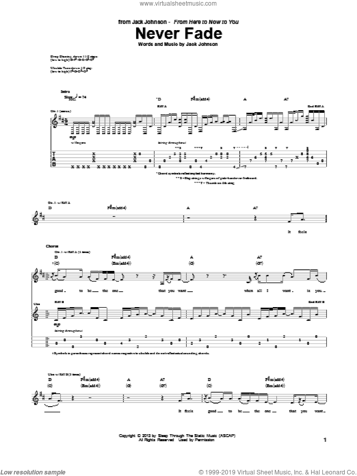 Never Fade sheet music for guitar (tablature) by Jack Johnson, intermediate. Score Image Preview.
