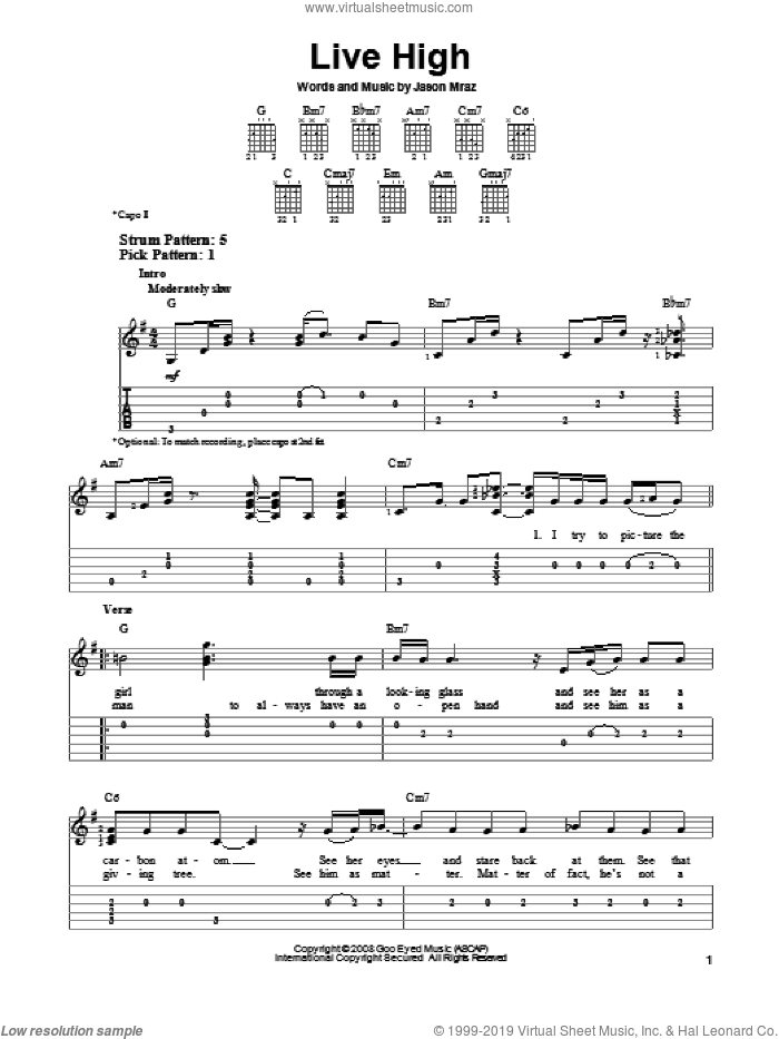 Live High sheet music for guitar solo (easy tablature) by Jason Mraz. Score Image Preview.