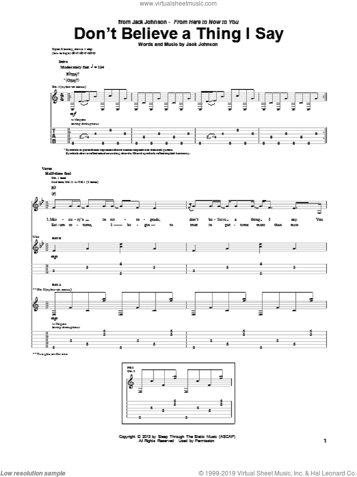 Don't Believe A Thing I Say sheet music for guitar (tablature) by Jack Johnson. Score Image Preview.