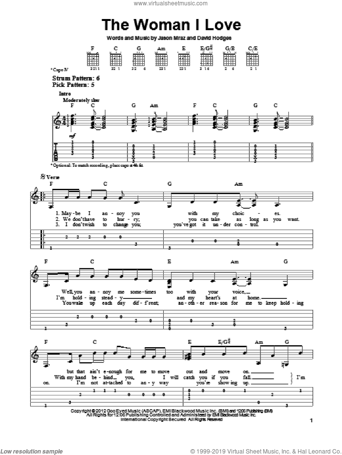 The Woman I Love sheet music for guitar solo (easy tablature) by Jason Mraz. Score Image Preview.