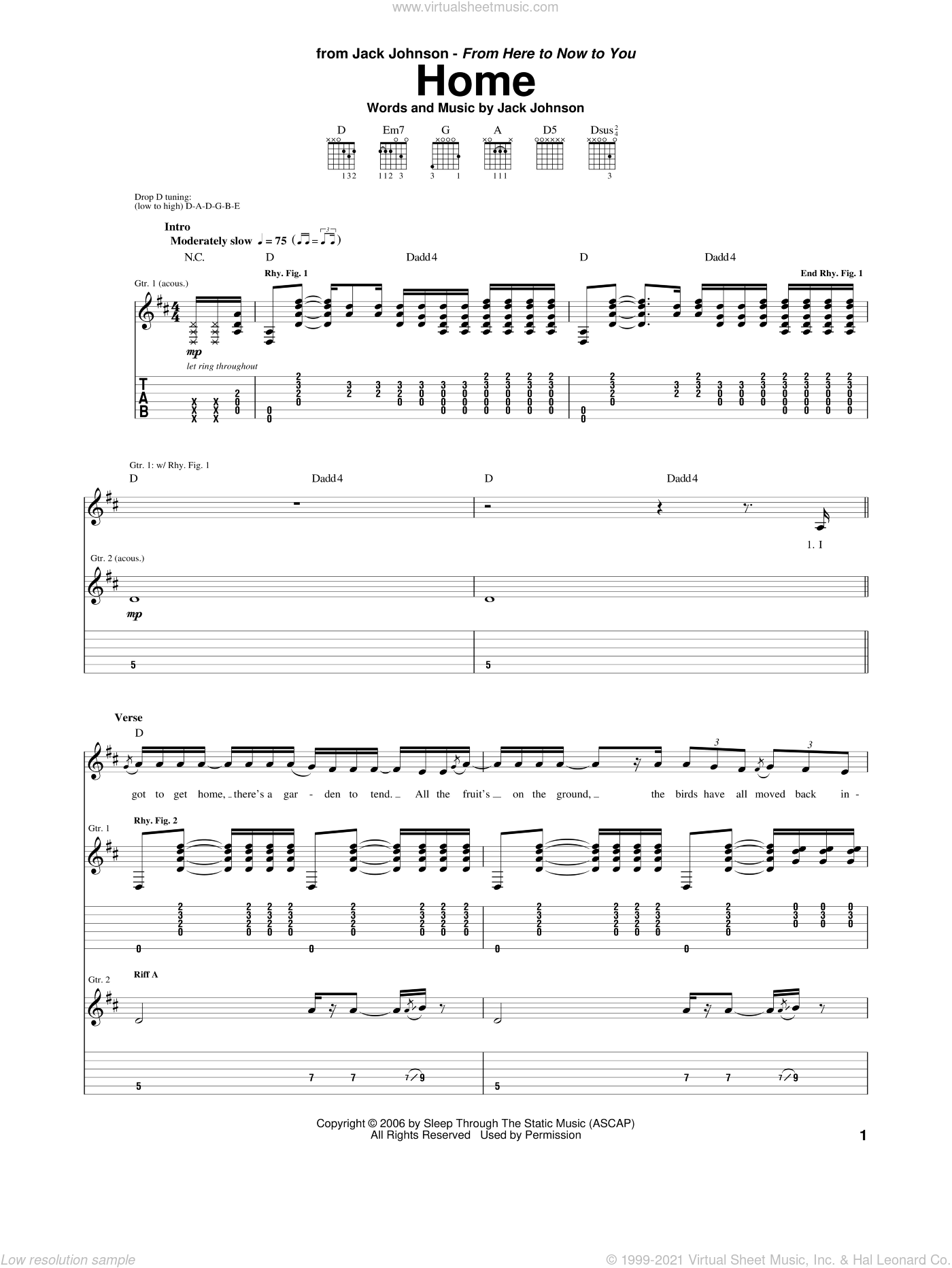 Home sheet music for guitar (tablature) by Jack Johnson. Score Image Preview.