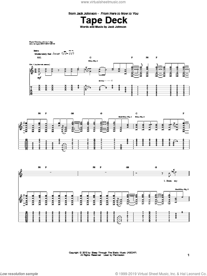 Tape Deck sheet music for guitar (tablature) by Jack Johnson. Score Image Preview.