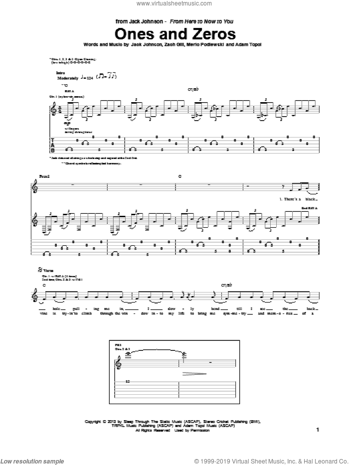 Ones And Zeros sheet music for guitar (tablature) by Jack Johnson. Score Image Preview.