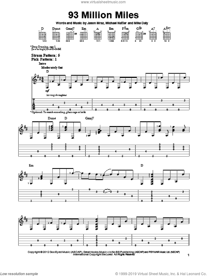 93 Million Miles sheet music for guitar solo (easy tablature) by Jason Mraz. Score Image Preview.