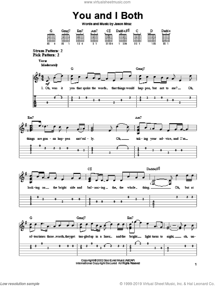 You and I Both sheet music for guitar solo (easy tablature) by Jason Mraz, easy guitar (easy tablature). Score Image Preview.