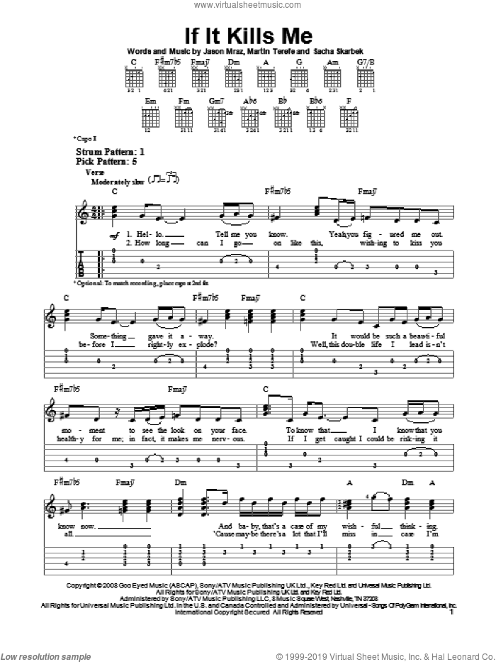 If It Kills Me sheet music for guitar solo (easy tablature) by Jason Mraz, easy guitar (easy tablature)