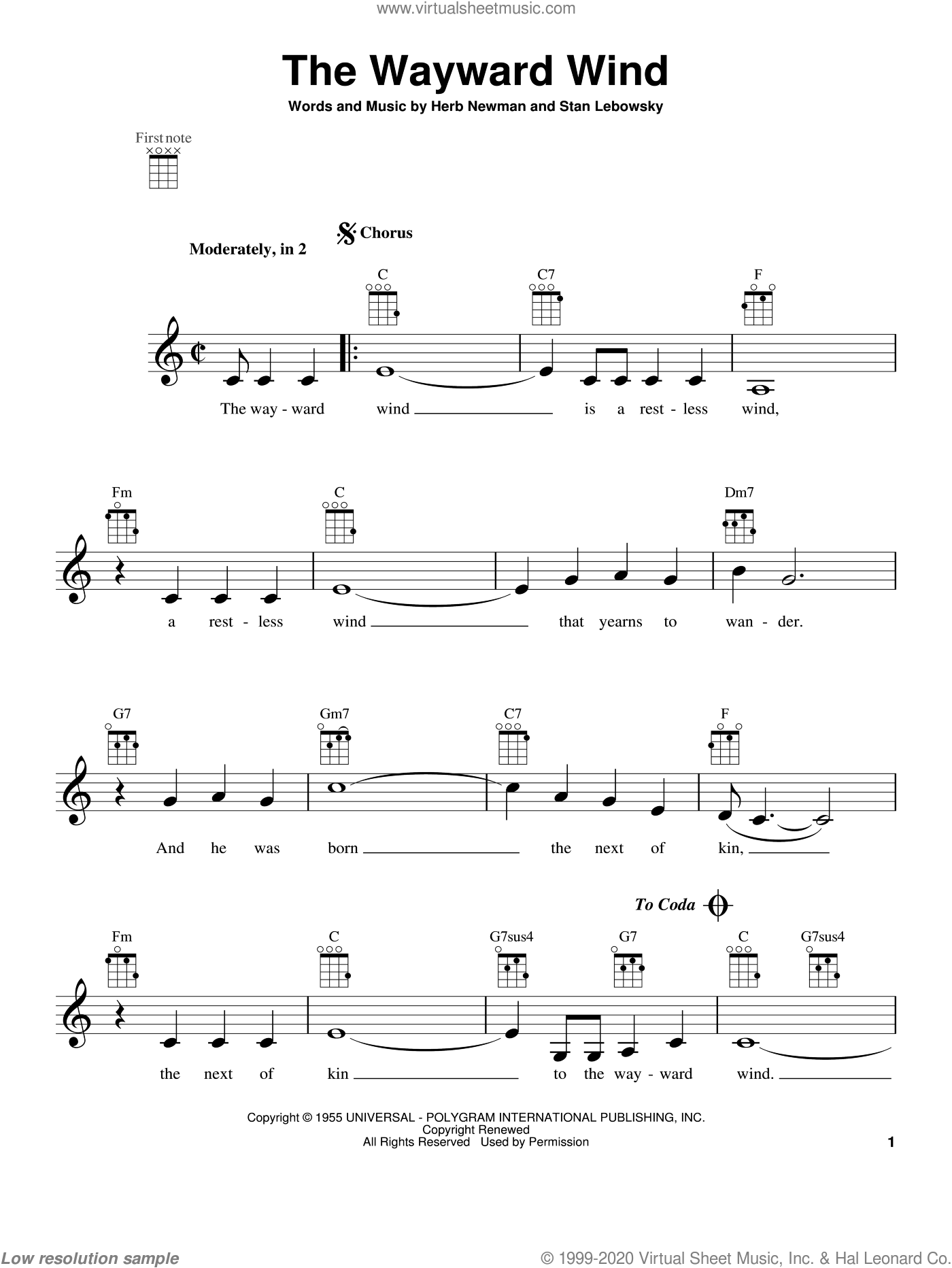 The Wayward Wind sheet music for ukulele by Patsy Cline and Tex Ritter, intermediate skill level