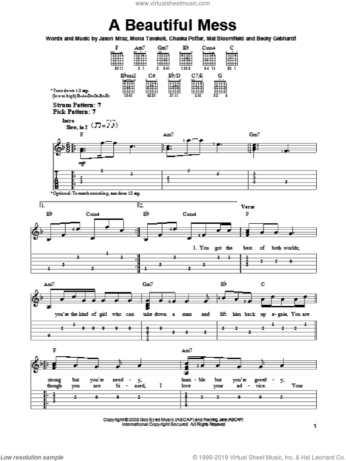 A Beautiful Mess sheet music for guitar solo (easy tablature) by Jason Mraz. Score Image Preview.