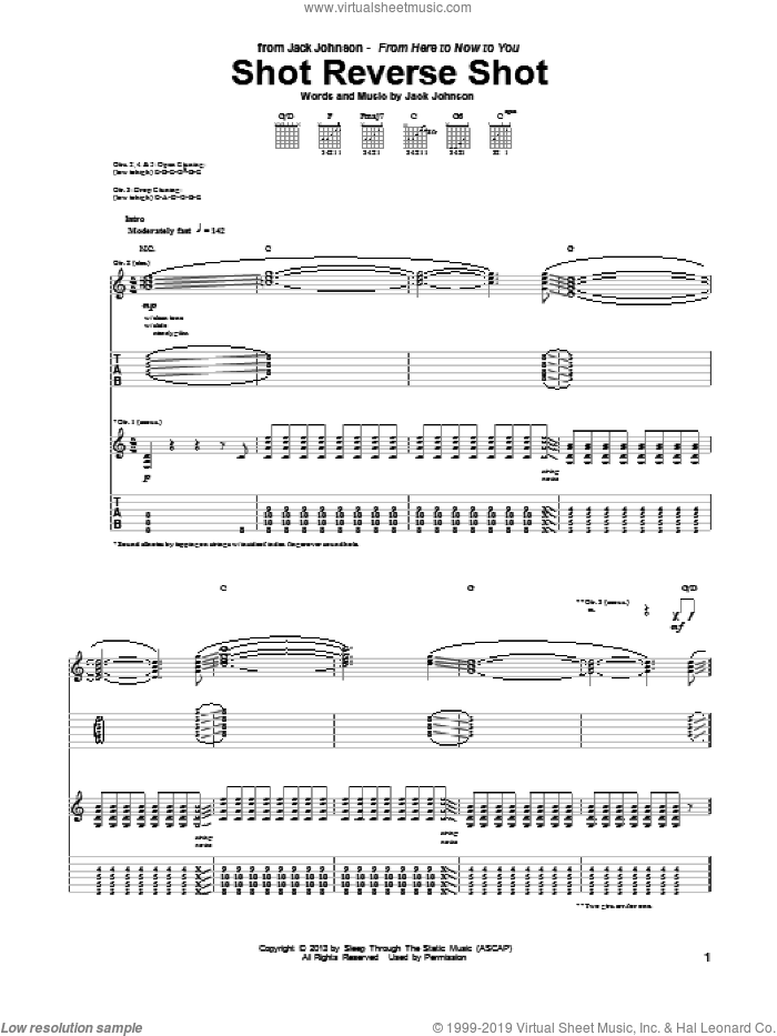 Shot Reverse Shot sheet music for guitar (tablature) by Jack Johnson, intermediate guitar (tablature). Score Image Preview.