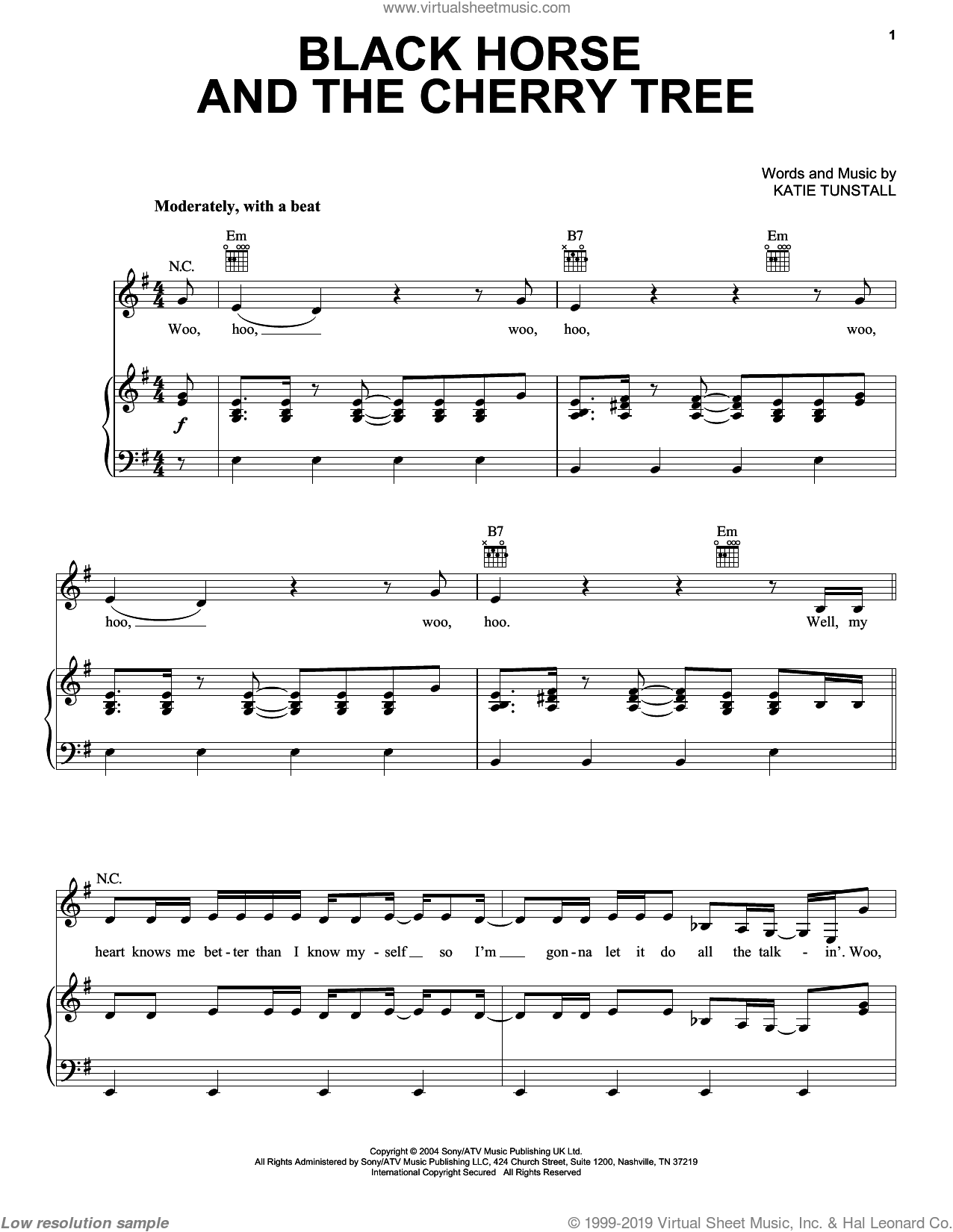 Black Horse And The Cherry Tree sheet music for voice, piano or guitar by KT Tunstall