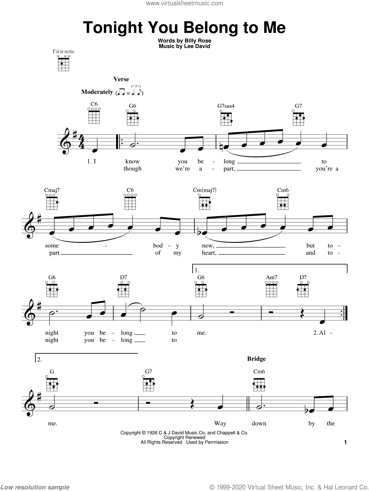 Tonight You Belong To Me sheet music for ukulele by Patience & Prudence, intermediate ukulele. Score Image Preview.