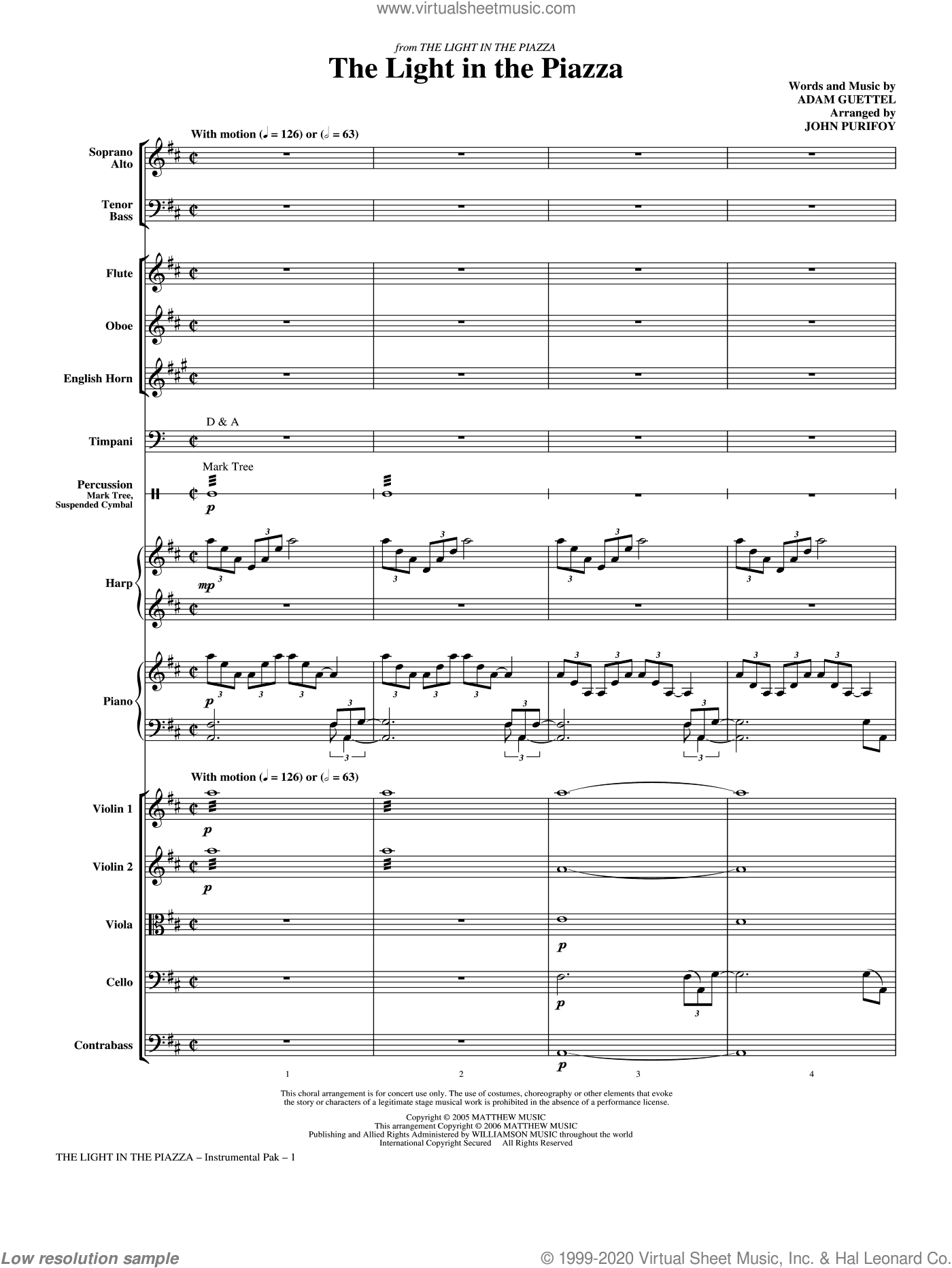 The Light In The Piazza sheet music for orchestra/band (chamber ensemble) by Adam Guettel