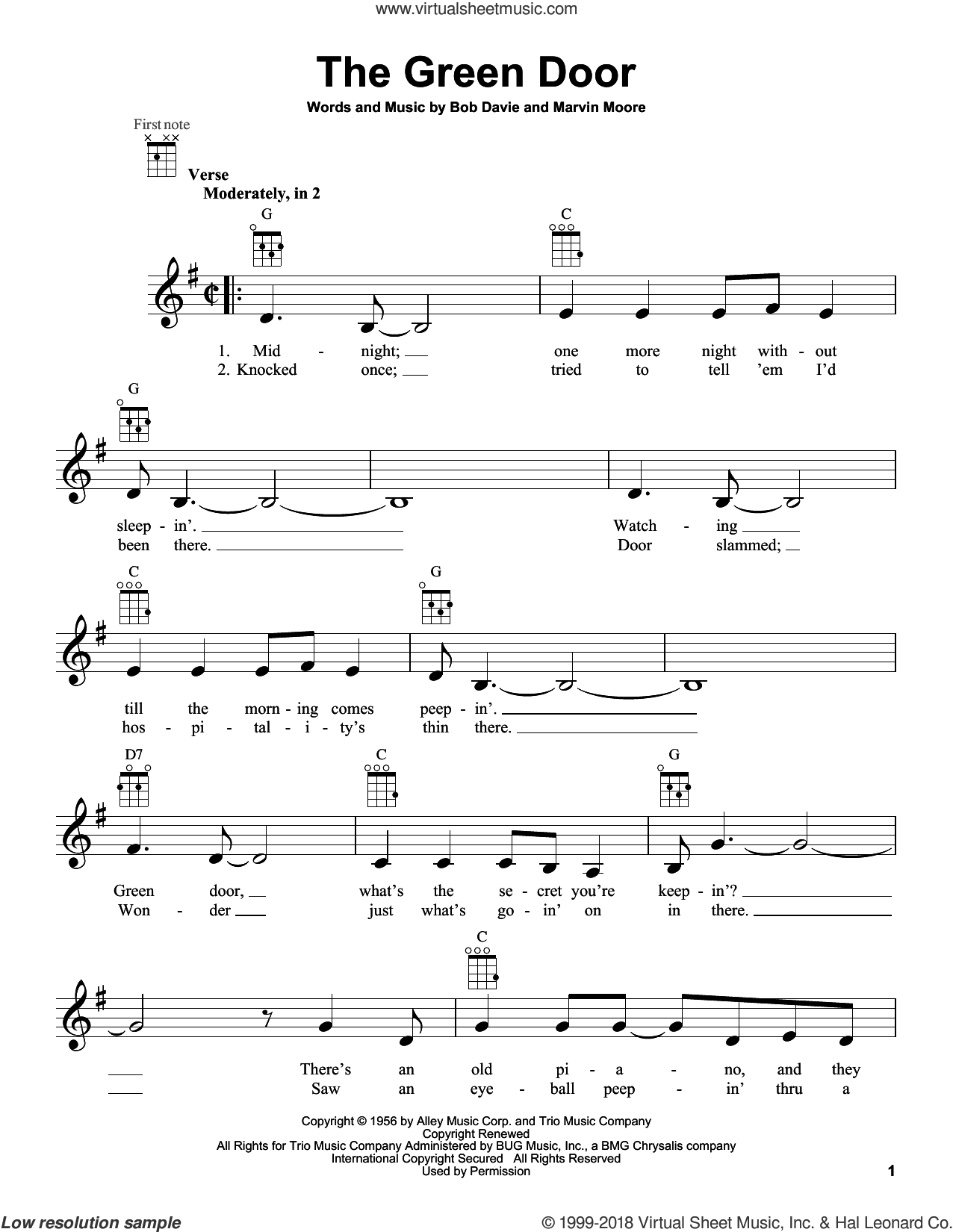 The Green Door sheet music for ukulele by Jim Lowe, intermediate skill level