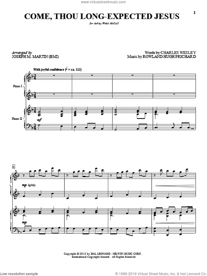 Come, Thou Long-Expected Jesus sheet music for piano four hands (duets) by Joseph M. Martin, Christmas carol score, intermediate piano four hands. Score Image Preview.