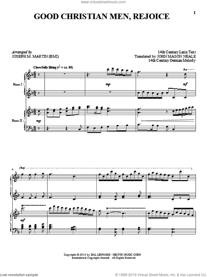 Good Christian Men, Rejoice sheet music for piano four hands (duets) by Joseph M. Martin. Score Image Preview.