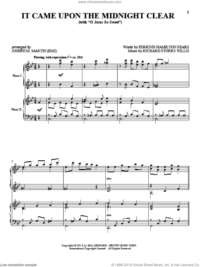 It Came Upon The Midnight Clear sheet music for piano four hands by Joseph M. Martin, intermediate skill level