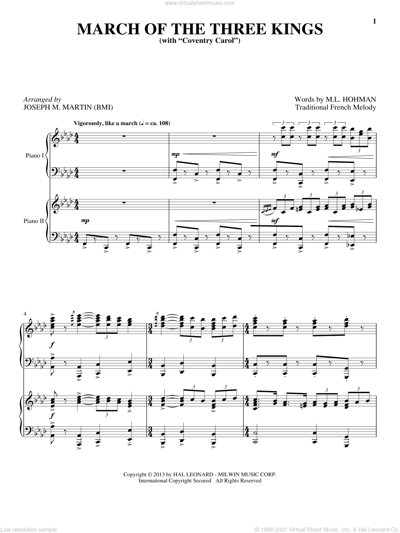 March Of The Three Kings sheet music for piano four hands by Joseph M. Martin, intermediate skill level