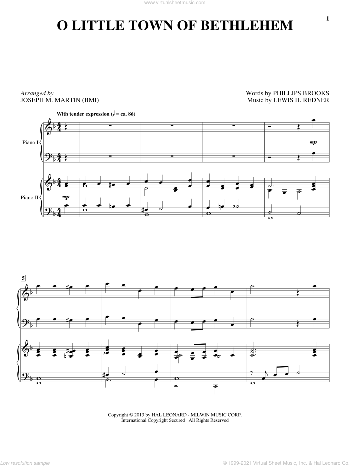 O Little Town Of Bethlehem sheet music for piano four hands (duets) by Joseph M. Martin, Christmas carol score, intermediate piano four hands. Score Image Preview.