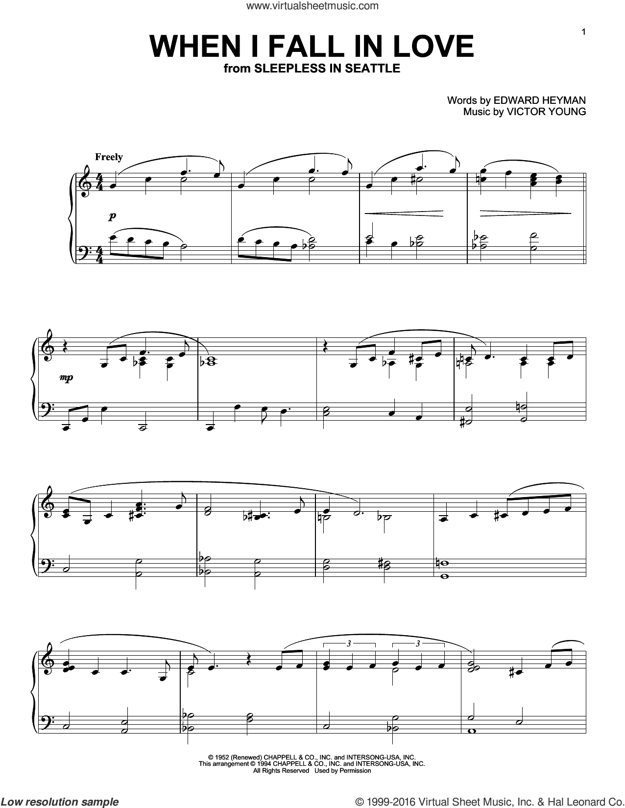 When I Fall In Love sheet music for piano solo by The Lettermen and Carpenters, intermediate. Score Image Preview.