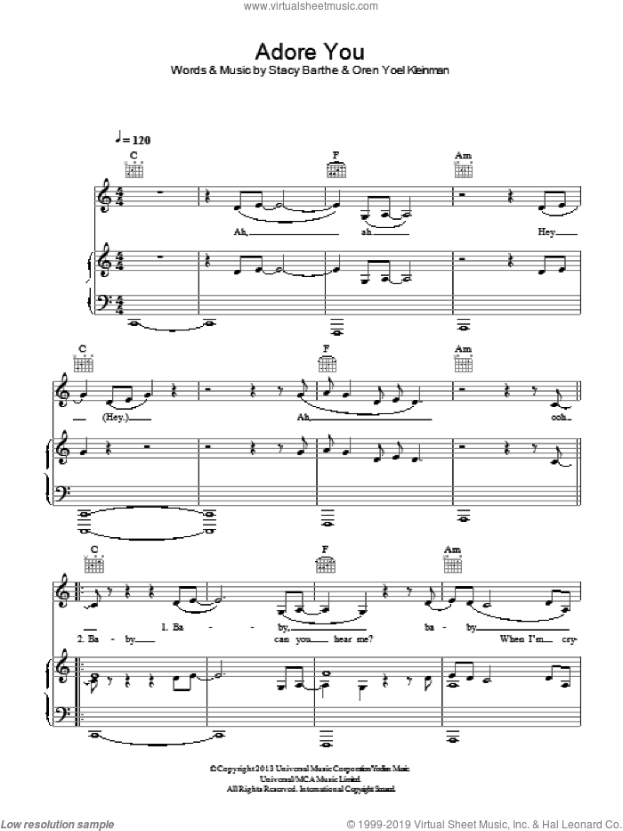 Adore You sheet music for voice, piano or guitar by Miley Cyrus and Stacy Barthe, intermediate. Score Image Preview.