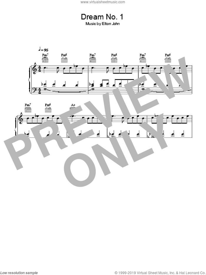 Dream #1 (Instrumental) sheet music for piano solo by Bernie Taupin and Elton John. Score Image Preview.