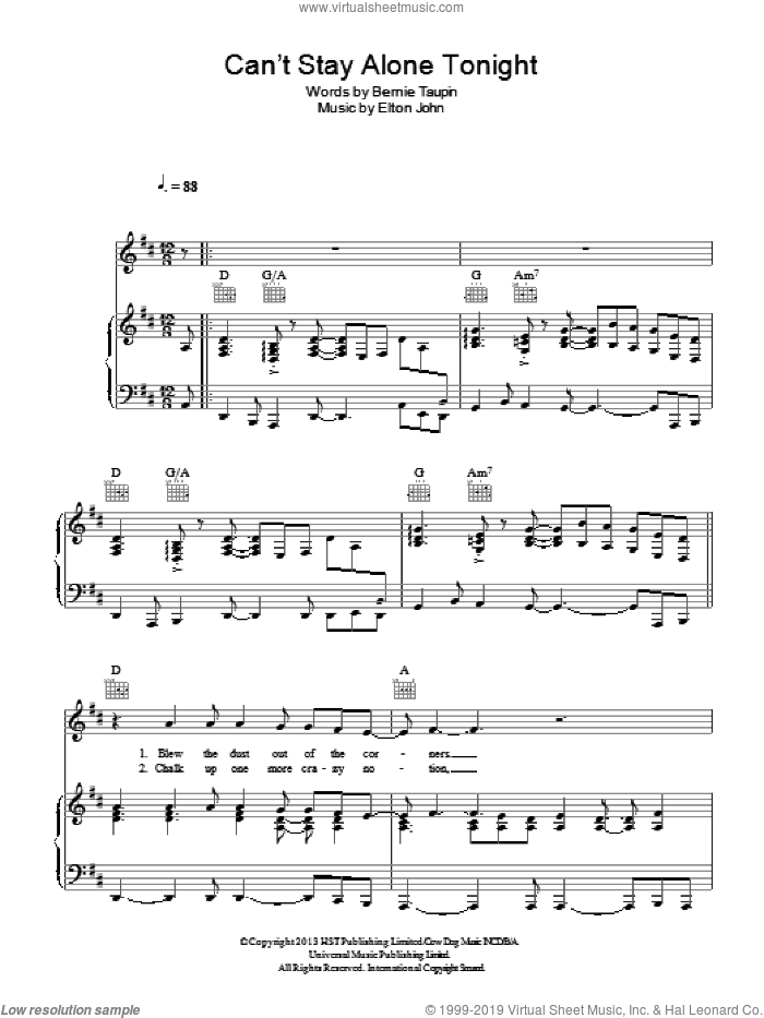 Can't Stay Alone Tonight sheet music for voice, piano or guitar by Bernie Taupin and Elton John. Score Image Preview.