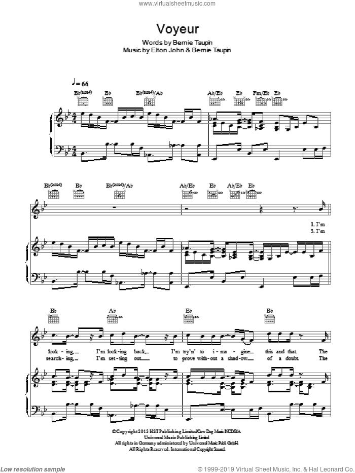 Voyeur sheet music for voice, piano or guitar by Bernie Taupin and Elton John. Score Image Preview.