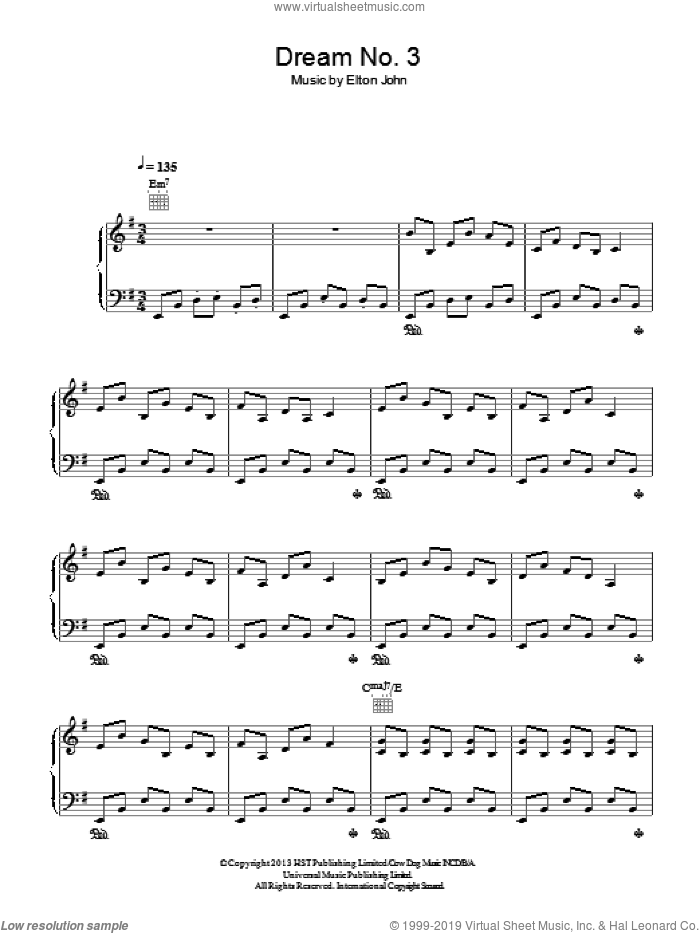 Dream #3 (Instrumental) sheet music for piano solo by Bernie Taupin