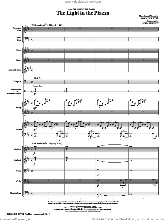 The Light In The Piazza (complete set of parts) sheet music for orchestra/band (chamber ensemble) by Adam Guettel and John Purifoy, intermediate. Score Image Preview.