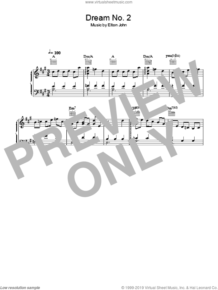 Dream #2 (Instrumental) sheet music for piano solo by Elton John and Bernie Taupin, intermediate skill level