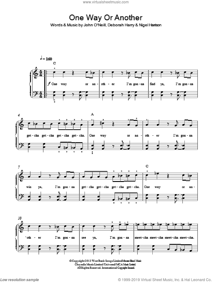 One Way Or Another (Teenage Kicks) sheet music for piano solo by One Direction, Deborah Harry and Nigel Harrison, easy. Score Image Preview.