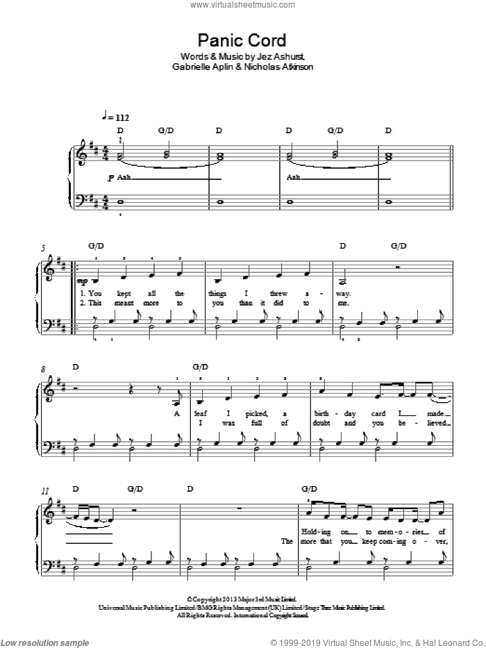Panic Cord sheet music for piano solo by Nicholas Atkinson, Gabrielle Aplin and Jez Ashurst. Score Image Preview.