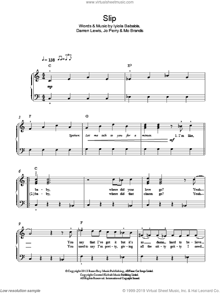 Slip sheet music for piano solo by Stooshe, Darren Lewis, Iyiola Babalola, Jo Perry and Mo Brandis, easy skill level
