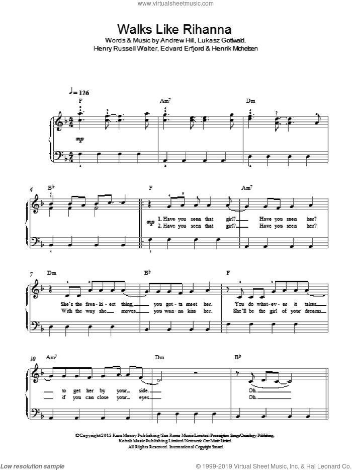Walks Like Rihanna sheet music for piano solo by The Wanted, Andrew Hill, Edvard Erfjord, Henrik Michelsen, Henry Russell Walter and Lukasz Gottwald, easy skill level