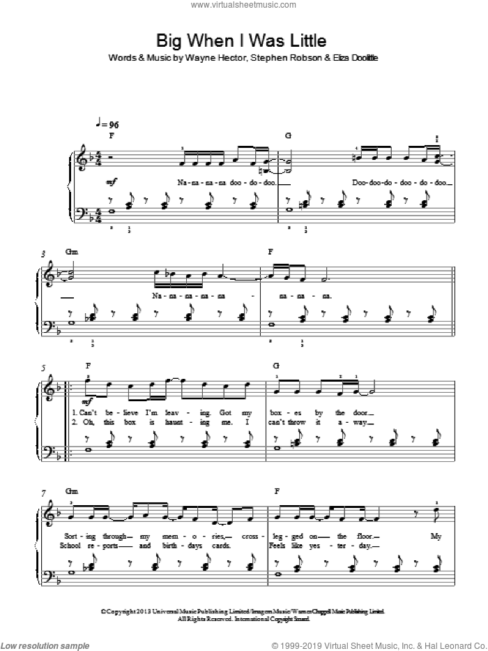 Big When I Was Little sheet music for piano solo by Wayne Hector and Steve Robson. Score Image Preview.