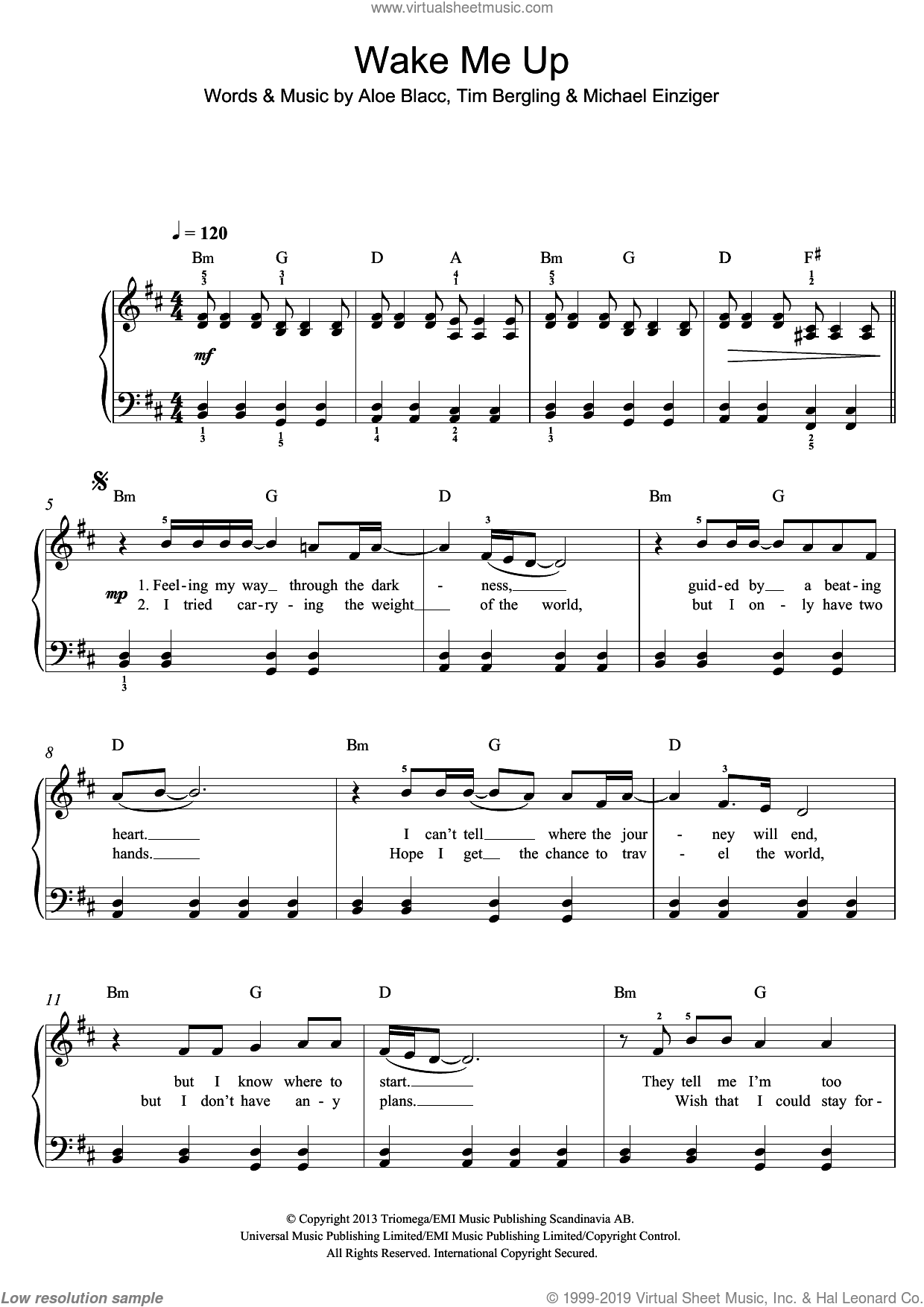 Wake Me Up sheet music for piano solo by Avicii, Aloe Blacc, Michael Einziger and Tim Bergling, easy skill level