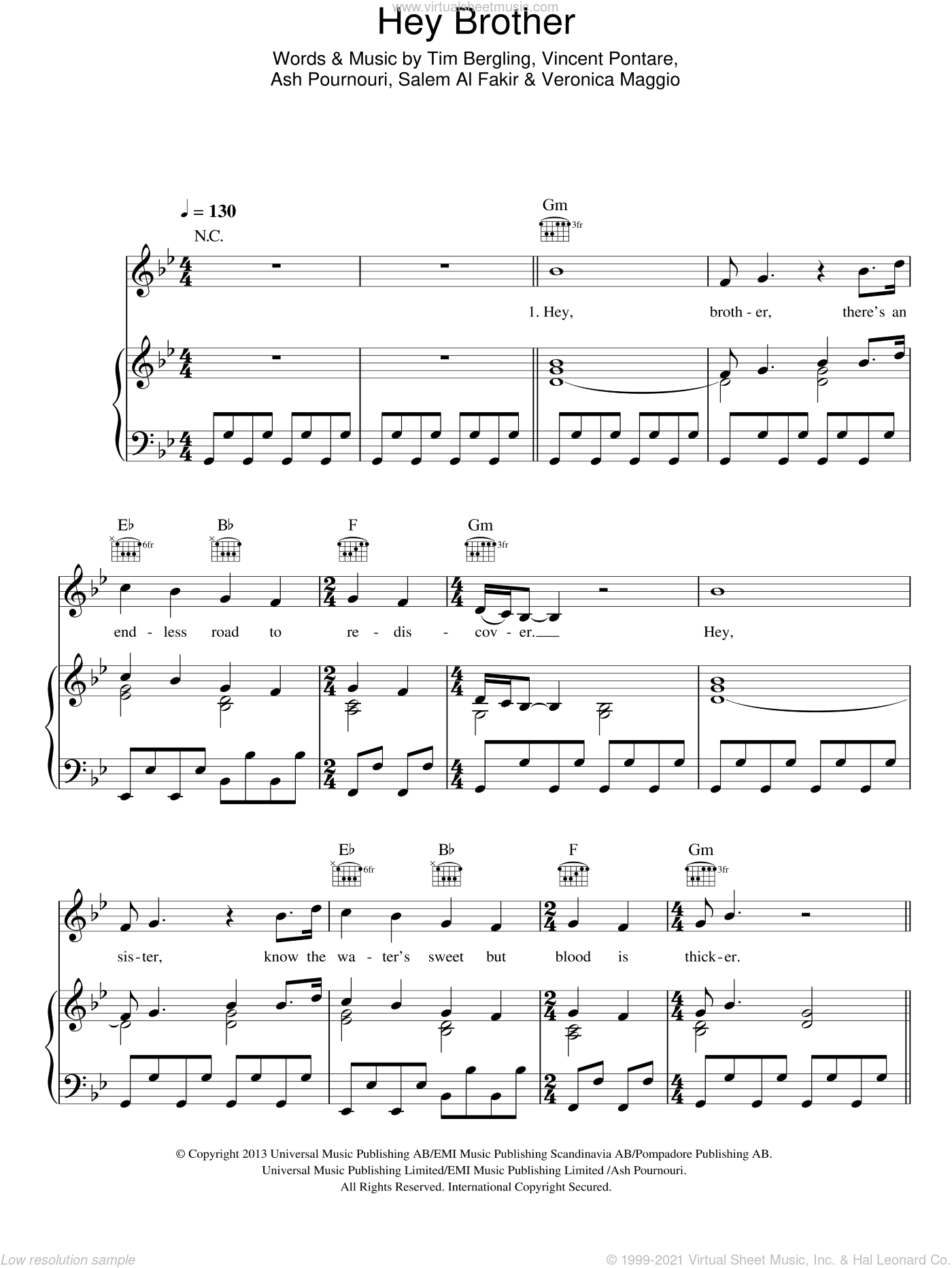 Hey Brother sheet music for voice, piano or guitar by Avicii, Ash Pournouri, Salem Al Fakir, Tim Bergling, Veronica Maggio and Vincent Pontare, intermediate skill level