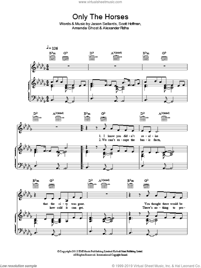 Only The Horses sheet music for voice, piano or guitar by Scissor Sisters, Alexander Ridha, Amanda Ghost, Jason Sellards and Scott Hoffman, intermediate skill level