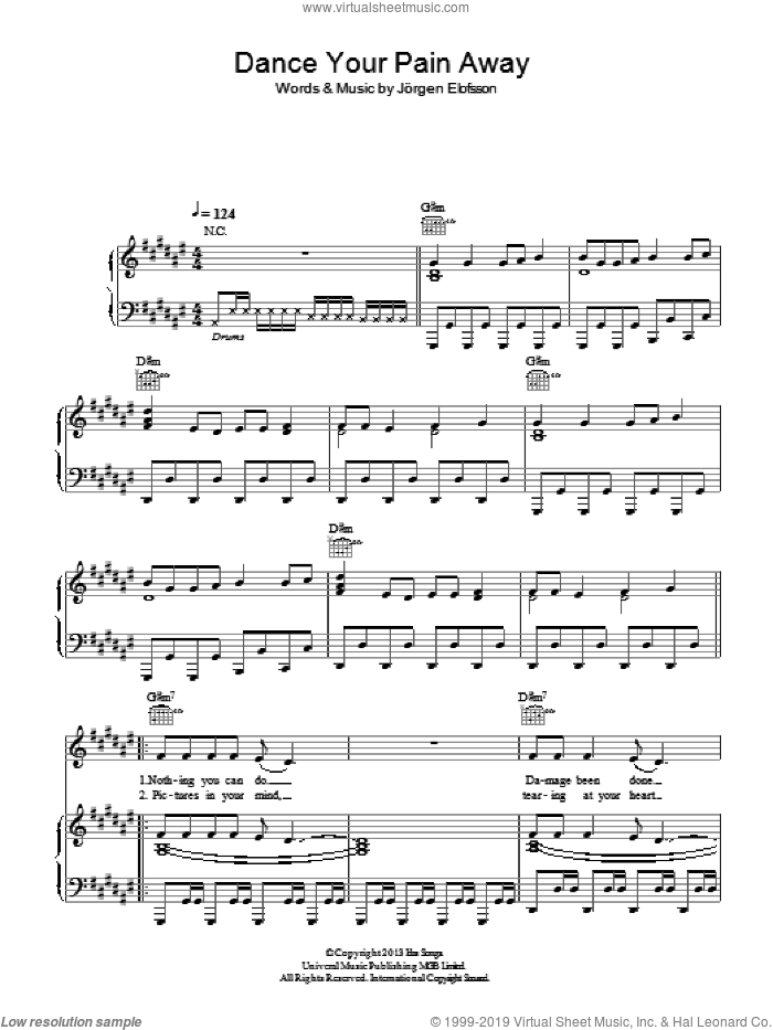 Dance Your Pain Away sheet music for voice, piano or guitar by Agnetha Faltskog and Jorgen Elofsson, intermediate. Score Image Preview.