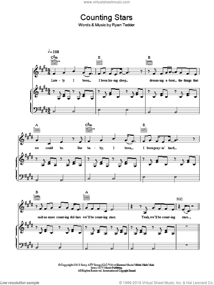 Counting Stars sheet music for voice, piano or guitar by OneRepublic and Ryan Tedder, intermediate skill level