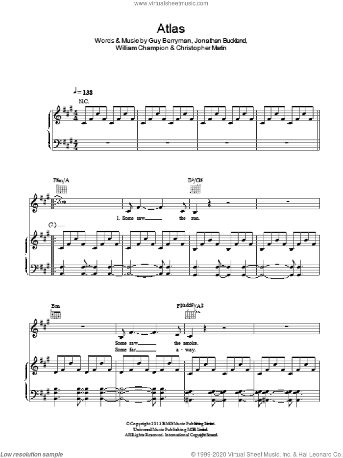 Atlas sheet music for voice, piano or guitar by William Champion, Coldplay, Christopher Martin and Guy Berryman. Score Image Preview.