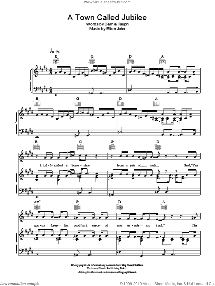 A Town Called Jubilee sheet music for voice, piano or guitar by Elton John and Bernie Taupin, intermediate voice, piano or guitar. Score Image Preview.