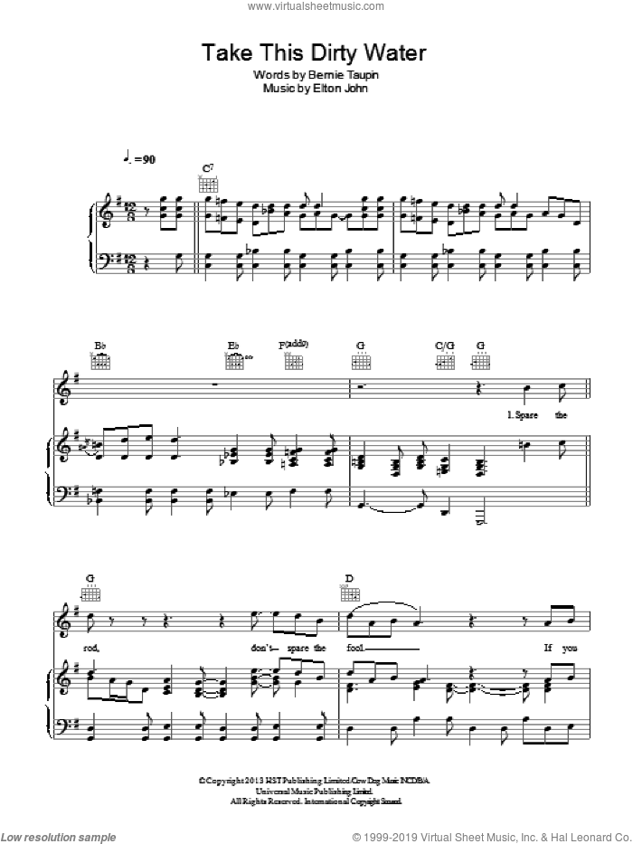 Take This Dirty Water sheet music for voice, piano or guitar by Elton John and Bernie Taupin, intermediate voice, piano or guitar. Score Image Preview.