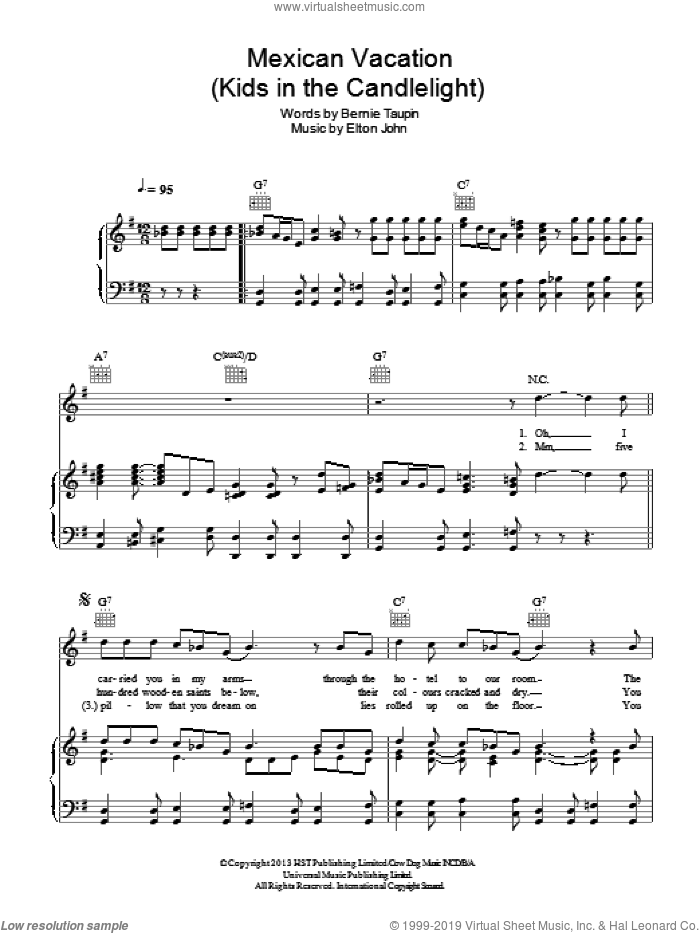 Mexican Vacation sheet music for voice, piano or guitar by Elton John and Bernie Taupin. Score Image Preview.