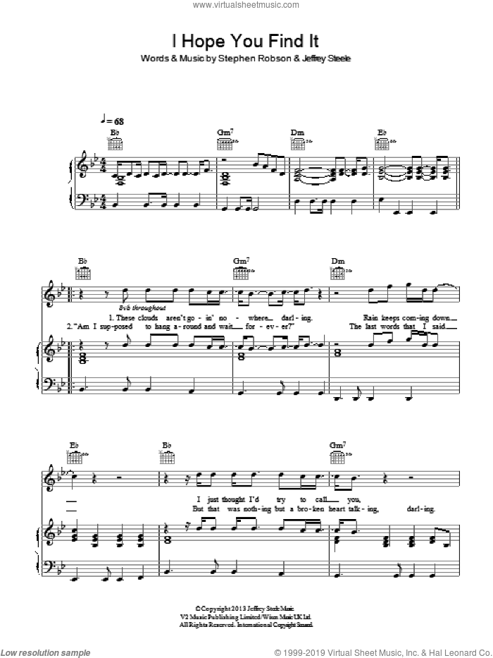 I Hope You Find It sheet music for voice, piano or guitar by Steve Robson, Cher and Jeffrey Steele. Score Image Preview.
