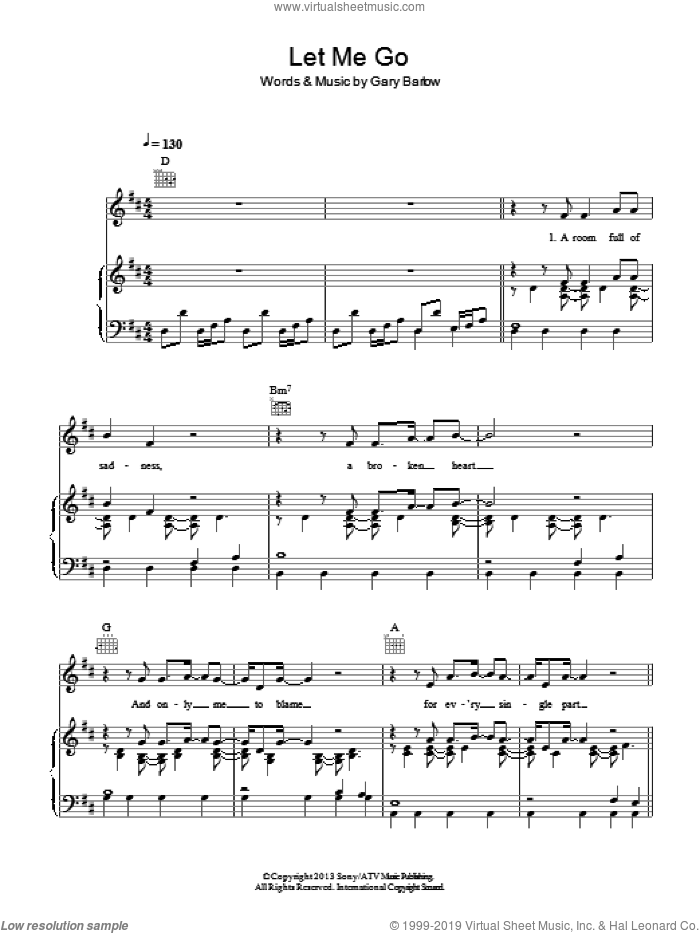 Let Me Go sheet music for voice, piano or guitar by Gary Barlow. Score Image Preview.
