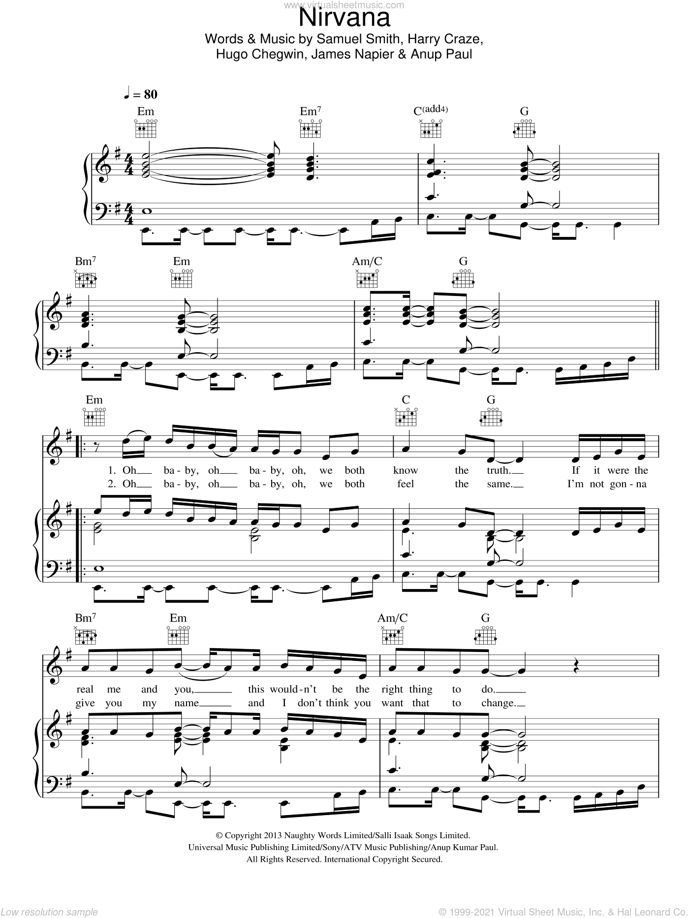 Nirvana sheet music for voice, piano or guitar by Samuel Smith, Sam Smith, Harry Craze, Hugo Chegwin and James Napier. Score Image Preview.