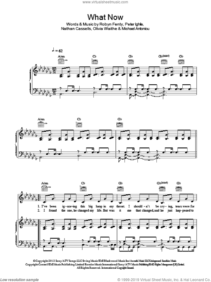 What Now sheet music for voice, piano or guitar by Robyn Fenty and Rihanna. Score Image Preview.